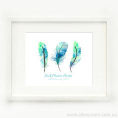 Print - Watercolour Feathers Birth Print  Blue