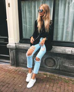 Black on blue jeans   black on denim   distressed jeans   ripped pants