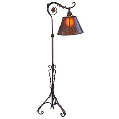 1920s Wrought Iron Bridge Lamp With Amber Mica Shade From A Unique Collection Of Antique