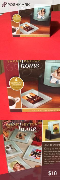 Glass Sarah Peyton -4 solid glass coasters Glass  photo coasters-4/new in box Other