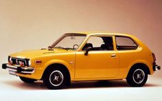 """My 1st Car- The Yellow """"Jellybean""""~ Honda Civic CVCC. It was not too fancy or fast but it had an equalizer that made the car go BOOM! Can you hear me playing Yaz?"""