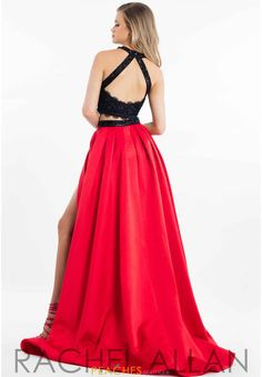 Magbridal Charming Satin Halter Neckline Cut-out Two-piece A-line Prom Dress With Beaded Lace Appliques A Line Prom Dresses, Grad Dresses, Cute Dresses, Formal Dresses, Two Piece Dress, Beaded Lace, Lace Applique, Lace Dress, Sheri Hill