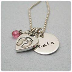Personalized Hand Stamped Jewelry- Sweet Baby Feet Necklace $48
