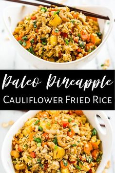 This super easy Paleo Pineapple Cauliflower Fried Rice is a Thai inspired healthy recipe that's packed with veggies and flavor. It makes a great meatless meal, but we also love adding chicken or shrimp to the mix to make it more substantial.  #healthy #cauliflower #paleo #whole30 #glutenfree #dairyfree Califlower Fried Rice, Chicken Cauliflower, Meatless Chicken, Chicken Rice, Chicken Salad, Primal Recipes, Paleo Recipes Healthy, Meatless Whole 30 Recipes, Healthy Cauliflower Recipes