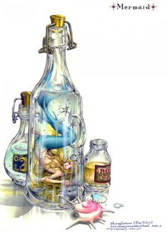 Mermaid in a bottle.