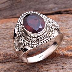 Red Garnet Oval Gemstone Stylish Ring 925 Sterling Silver Jewelry Handmade Designer Ring Size US Jewelry for Women Ring by arishakreation on Etsy Ladies Silver Rings, Sterling Silver Mens Rings, 925 Silver, Geeks, Stylish Rings, Gemstone Rings, Garnet Gemstone, Womens Jewelry Rings, Women Jewelry