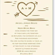 birch bark heart wedding invitation - ecru | rustic wedding invites at Invitations By Dawn (also has matching prgs, menu, place cards, etc)