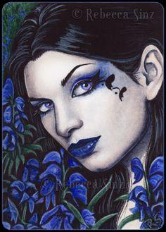 ACEO LE PRINTS Black Hellebore Poison Flowers Portrait Gothic Green Fairy wc