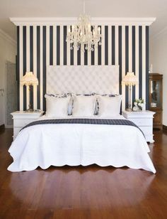 Black and White Vertical Stripes Make a Low Ceiling Seem Much Higher.
