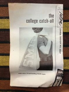 VTG 50s Talon Zipper Design No 1007 THE COLLEGE CATCH-ALL Sewing Leaflet Pattern