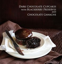 Dark Chocolate Cupcakes with a Surprise Inside!
