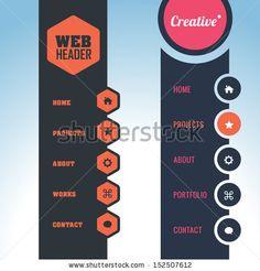 Vector Vertical Header Web Menu Design