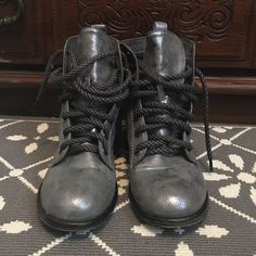 Size 6 Silver combat boots Gray combat boots with a silver finish. Worn a handful of times, look new. Dirty Laundry Shoes Combat & Moto Boots