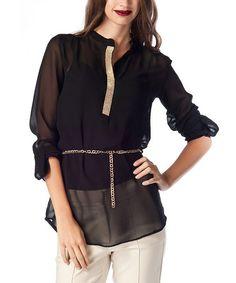 Look at this #zulilyfind! Black Sheer Long-Sleeve Tunic #zulilyfinds