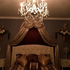 Elegant Crown canopy (price includes crown, curtains and canopy frame). Bed Crown Canopy, Canopy Frame, Girls Bedroom Storage, Bedroom Ideas, Custom Canopy, Curtain Length, Victorian Bedroom, Types Of Curtains, Voile Curtains
