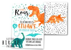 DINOSAUR INVITATION DINOSAUR Birthday Party Invitation