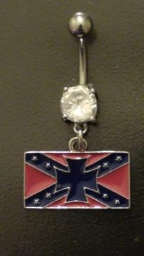 confederate flag rectangle w/ blue cross belly ring