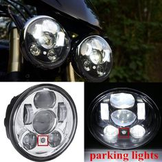 "[Visit to Buy] 2 x For Harley Triumph Rocket 3 Harley Dyna Street Bob Iron Breakout Motorbike Headlight 5.75"" Motorcycle 5 3/4"" Led headlamp #Advertisement"