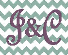 Chevron Cross Stitch Pattern with Initials by oneofakindbabydesign
