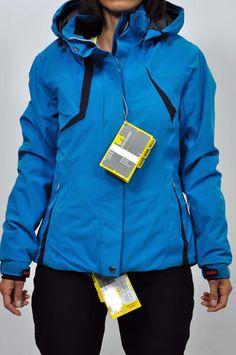 """Dubin Giacca donna sci col. azzurro con dettagli in nero. Tessuto """"Thin-therm"""" idrorepellente, impermeabile, antivento, termico."""