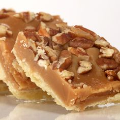 A classic shortbread crust recipe topped with a chewy layer of toffee and crunchy pecans.