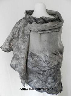 nuno felted silk scarf shawl SMOKE art to wear by kantorysinska Nuno Felt Scarf, Wool Scarf, Pale Pink, Pink Light, Smoke Art, Grey Scarf, Kinds Of Clothes, Silk Wool, Baby Cartoon