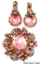 Juliana Pink Matrix Rhinestone Brooch & Earrings Set