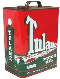 Petroliana can, Tulane Motor Oil, 2-gal, metal w/great