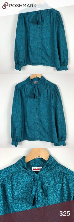 VINTAGE Judy Bond Secretary Blouse Beautiful vintage piece.  No size tag.  Excellent used condition. Gorgeous color. Armpit to Armpit 42 inches Shoulder to hem 22.5 inches Sleeve length 24 inches Vintage Tops Blouses
