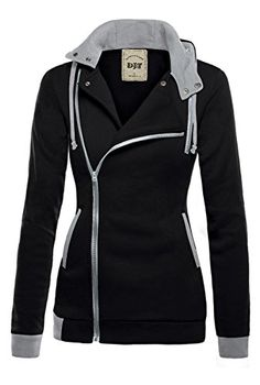 DJT Womens Oblique Zipper Slim Fit Hoodie Jacket XLarge Black  Size Guide for #6C05 & #6C14  S: Length 62.0cm/24.4″, Bust 96cm/37.8″, Waist 84cm/33.1″, Shoulder 39.0cm/15.4″, Sleeve Length 66cm/26.0″, Hem 94cm/37.0″, Cuff 20cm/7.9″  M: Length 63.0cm/24.8″, Bust 100cm/39.4″, Waist 88cm/34.6″, Shoulder 40.0cm/15.7″, Sleeve Length 67cm/26.4″, Hem 98cm/38.6″, Cuff 21cm/8.3″  L: Length 64.0cm/25.2″, Bust 104cm/40.9″, Waist 92cm/36.2″, Shoulder 41.0cm/16.1″, Sleeve Length 68cm/26.8″, Hem 1..
