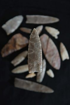 "chert or flint ""Clovis"" style projectile points. My husband studies these."