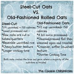 Steel-Cut vs. Old-Fashioned Rolled Oats / The Cookie ChRUNicles