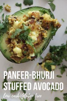 Paneer-Bhurji stuffed Avocado can easily be your next favorite snack or Breakfast go-to recipe. #paneer #lowcarb #glutenfree #healthy @smellthemintleaves | smellthemintleaves.com