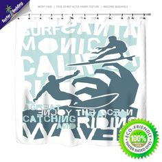 Surfing California Eco Friendly & Crafted in USA Surfer Shower Curtain