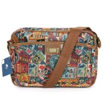 Disney Mickey Label Pattern Canvas Mini Shoulder Bag Retro Messenger Bag