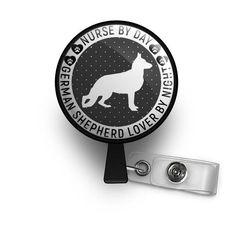 Nurse By Day German Shepherd Lover By Night ID Badge Reel