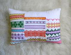 Pillow made from vintage embroidered cotton towels.