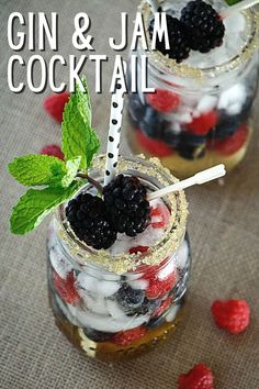 """I love a classic gin and tonic, but this is another gin cocktail that I love. Tasting like a liquid berry cobbler, it's like dessert in a jar. This is like """"gin and jam"""" and is SO good. You'll need dark simple syrup, club soda, a handful of berries, and gin. 