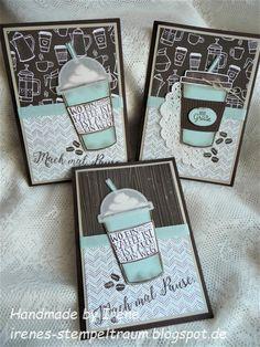 Ich liebe das Stempelset Kaffee, ole´! Heute zeige ich einige Karten in Espresso Farbkarton,Saharasand und Himmelblau, der Becher ist noc...