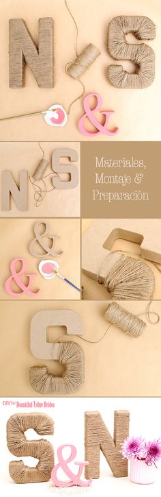 DIY Initials of jute lined and painted grooms – - Decoration For Home Diy Wedding, Rustic Wedding, Dream Wedding, Wedding Day, Deco Champetre, Diy Art, Diy Gifts, Diy And Crafts, Initials