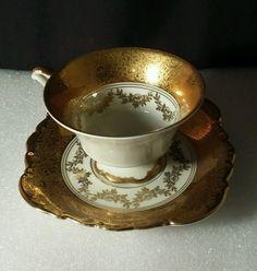 Alka Bavaria  Germany #639 Gold Floral Teacup  & Saucer  Vintage #Alka