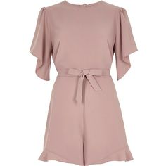 84b099d452 River Island Petite light pink frill tie front playsuit ( 90) ❤ liked on  Polyvore