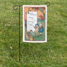 Vintage Harvest Children and Thanksgiving Verse Garden Flag | Zazzle.com