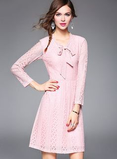 Bowknot lace patchwork sweet shift dress
