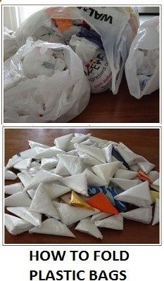Save room in your camping bags with this handy tip to tame unwieldy plastic bags. REMEMBER: Take your plastic bags and rubbish with you. - r...