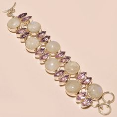 .925 Silver Rainbow Moonstone With Faceted Kunzite Fabulous Bracelet #Handmade