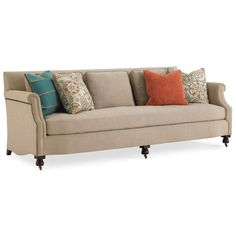 Caracole Big Dreams sofa  Features: Seat Width: 86 Seat Depth: 21.5Nailhead Trim Accents on Outarm, Casters, Bench Seat, Turned Wood Leg, Tight InbackUltra Plush Down Cushion, 8-Way Hand Tied Seat, Feather Down Pillows