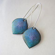 Blue purple dangle earrings, bohemian jewelry, colorful leaf earrings, handmade enamel jewelry on Etsy, $32.00