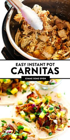 This Instant Pot Carnitas recipe is extra quick and easy to make in the pressure cooker. It's also simmered with a garlic citrus mojo sauce for extra flavor, then broiled briefly in the oven to make t Pork Recipes, Mexican Food Recipes, Cooking Recipes, Healthy Recipes, Skillet Recipes, Cooking Tools, Mexican Desserts, Chef Recipes, Kitchen Recipes