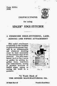 Singer Featherweight 221 or Edge-Stitcher is a very useful attachment for sewing together laces, rick rack braids and more - fits all low shank machines. Antique Sewing Machines, Sewing Rooms, Dressmaking, Clothing Patterns, Embroidery Designs, Singer, Quilts, Stitch, Room Ideas